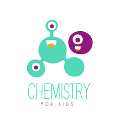 chemistry for kids logo symbol colorful hand vector image