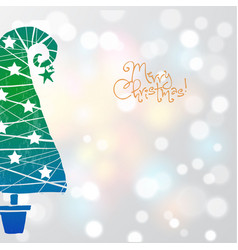 christmas greeting card in minimalist style with vector image