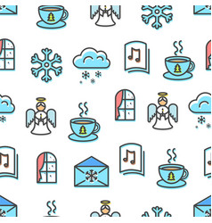 christmas pattern blue colors vector image