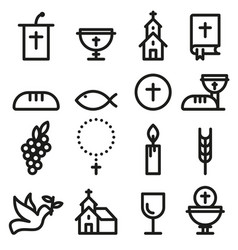 Church and christian community flat outline icons vector