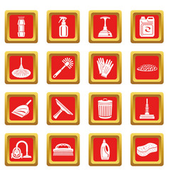 cleaning icons set red square vector image