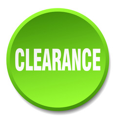Clearance green round flat isolated push button vector
