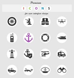 Coast guard icon set vector