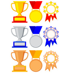 Colorful winner award gold silver bronze set vector