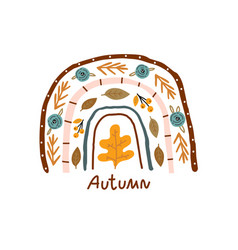 creative autumn rainbow with lettering and vector image
