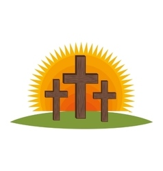 Cross religious symbol icon vector