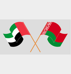 Crossed and waving flags belarus and united vector