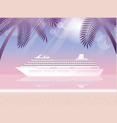 Cruise liner and tropical resort at dusk vector