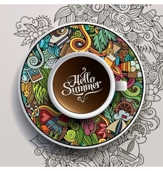 Cup of coffee and hand drawn watercolor summer vector