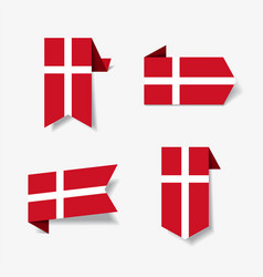 Danish flag stickers and labels vector