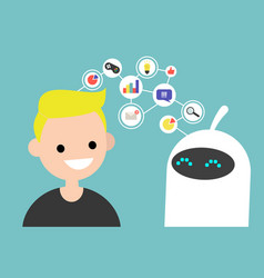data transfer conceptual human and robot vector image