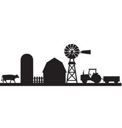 Farm landscape silhouette barn silo tractor vector