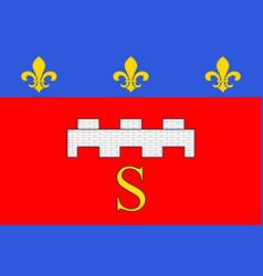 Flag of saumur in maine-et-loire of pays de la vector