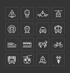 flat icons set transportation outline concept vector image