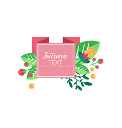 frame text original design elegant floral label vector image