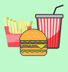french fries and hamburger and red paper cup drink vector image