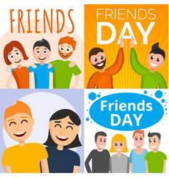friends day banner set cartoon style vector image