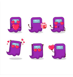 Ghost among us purple cartoon character with love vector
