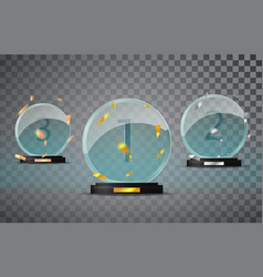 Glass trophy set isolated on a transparent vector