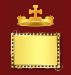 gold frame and royal crown king or queen jewelry vector image