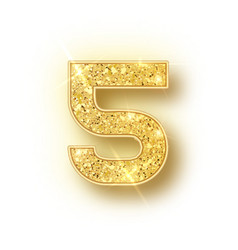 Gold glitter alphabet numbers 5 with shadow vector