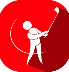 Golf icon on red badge vector image