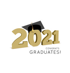 graduation class 2021 with cap vector image