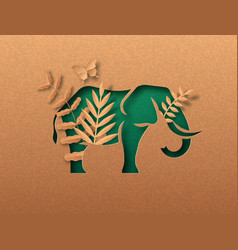 Green paper cut elephant animal with nature leaf vector