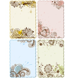hand drawn floral cards vector image