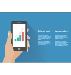 Hand holing smart phone with increasing bar chart vector
