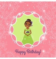 Happy Birthday pink greeting card with princess vector