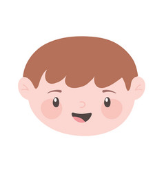 Happy face boy cartoon character isolated icon vector