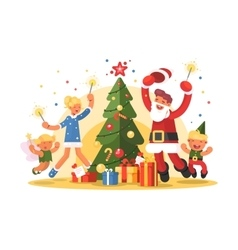 Happy family celebrating xmas vector image