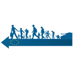 Immigration people silhouette moving to european vector