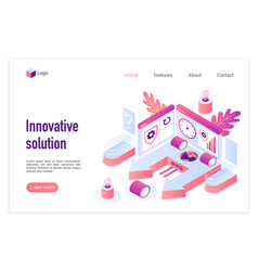 innovative solution landing page template vector image