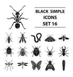Insects set icons in black style big collection vector
