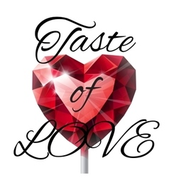 Isolated shiny red ruby heart shape lollipop with vector image