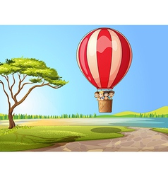 Kids in a air balloon vector image