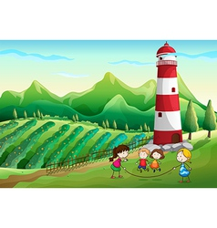 Kids playing at the farm with a tower vector
