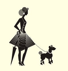 Lady in dress formed vertical folds with dog vector