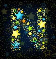 Letter N cartoon star colored vector