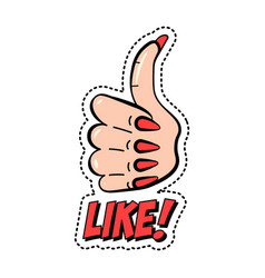 like colorful fashion sticker with thumb up vector image