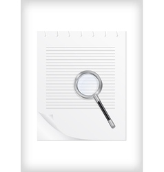 Magnifying glass with sheet of paper vector