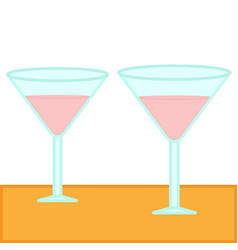 martini glasses filled with pink cocktail vector image