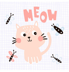 meow cat vector image