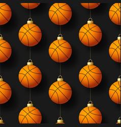 merry christmas basketball seamless pattern hang vector image