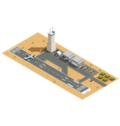 Military air base isometric composition vector