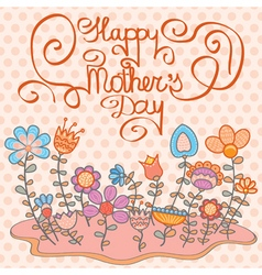 Mothers Day card with flowers vector image