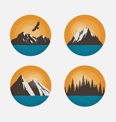 mountain landscapes in a circle vector image