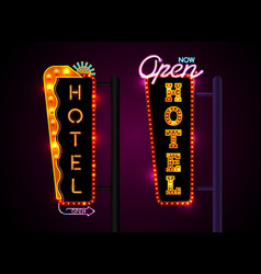 Neon hotel sign set vertically text vector